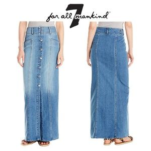 NEW 7 For All Mankind Long Exposed Button Skirt